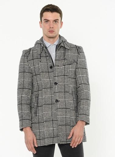 Dewberry Kapüşonlu Klasik Yün Palto Siyah